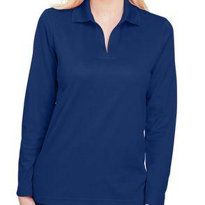 Devon & Jones CrownLux Performance™ Women's Plaited Long Sleeve Polo Shirt