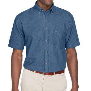 Harriton Short Sleeve Denim Button Down Shirt