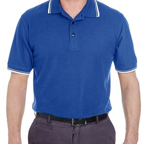 UltraClub Men's Short-Sleeve Polo Shirt with Tipped Collar and Cuffs