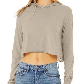 Bella + Canvas Women's Cropped Long Sleeve Hoodie Shirt