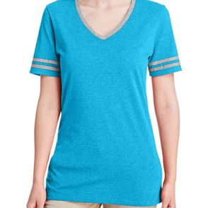 Jerzees Women's Tri-Blend Varsity V-Neck T-Shirt
