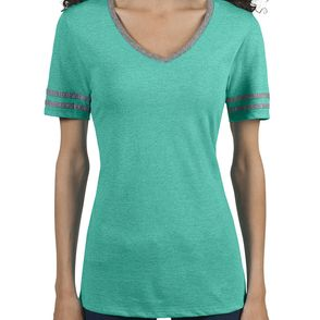Jerzees Women's Tri-Blend Varsity V-Neck T-Shirt