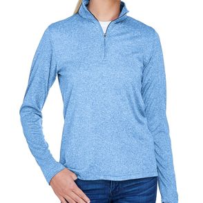 UltraClub Women's Cool & Dry Heather Quarter-Zip Pullover