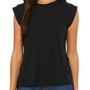 Bella + Canvas Women's Flowy Muscle T-Shirt with Rolled Cuff