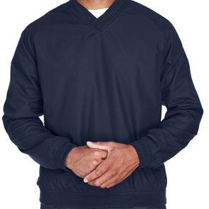 UltraClub Microfiber Crossover Long Sleeve V-Neck Wind Shirt