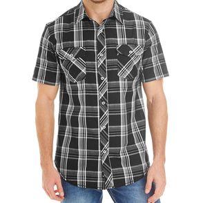 Burnside Men's Short-Sleeve Plaid Pattern Button Up Shirt