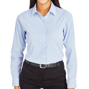 Devon & Jones CrownLux Women's Micro Windowpane Button Up Shirt