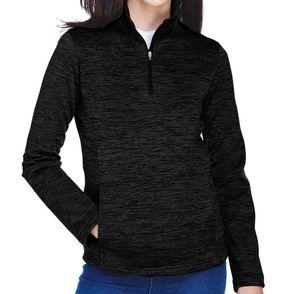 Devon & Jones Women's Newbury Melange Fleece Quarter-Zip Pullover