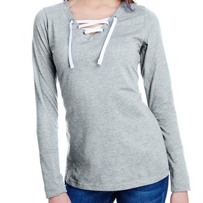 LAT Women's Long Sleeve Jersey Lace-Up Shirt