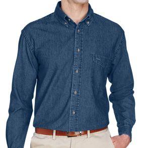 Custom Harriton Long Sleeve Denim Button Down