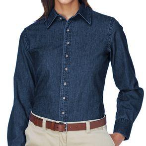 Harriton Women's Long Sleeve Denim Button Up